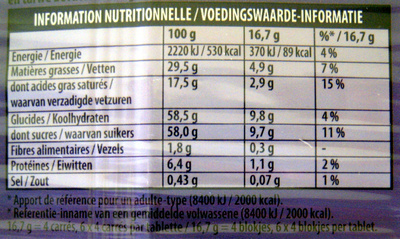 Chocolat au lait du pays alpin (Lot de 5) - Informations nutritionnelles - fr