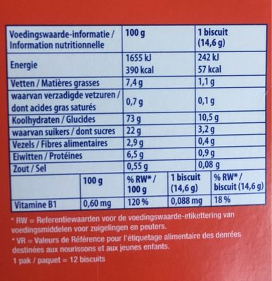 Betterfood - Biscuit pour panades - Nutrition facts - fr