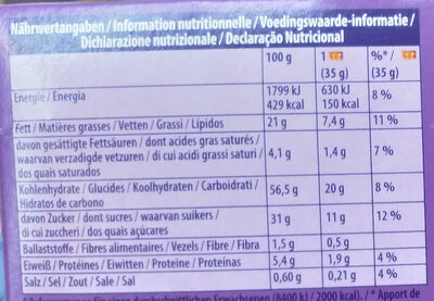 Cake & Choc - Informations nutritionnelles - fr