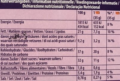 Cake & Choc - Nutrition facts