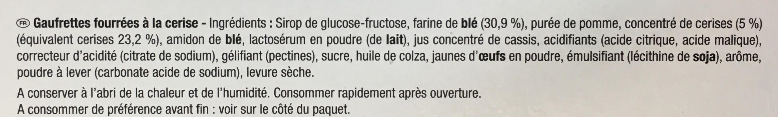 La paille d'or aux cerises - Ingredients