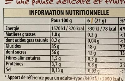 La paille d'or - Gaufrettes fourrées à la cerises - Informations nutritionnelles