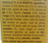 Barre céréalière fourrée au chocolat et à la noisette. - Ingrédients - fr