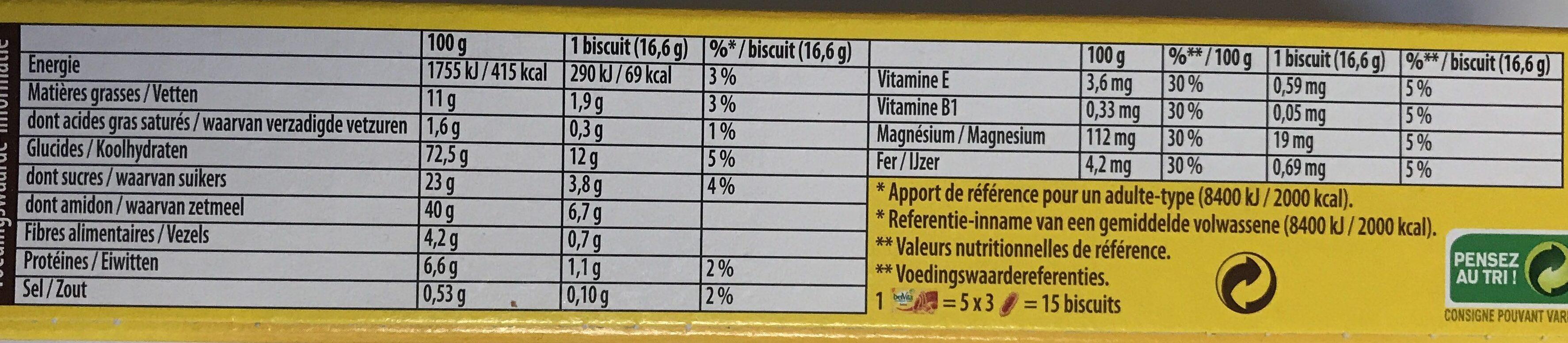 BelVita Petit Déjeuner Le Tartiné à la Fraise - Informations nutritionnelles