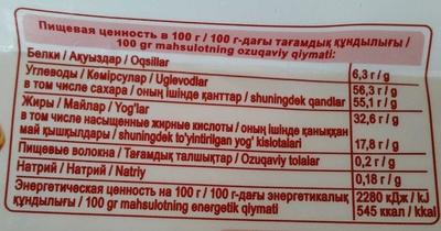 Белый шоколад Миндаль и кокос - Voedingswaarden - ru