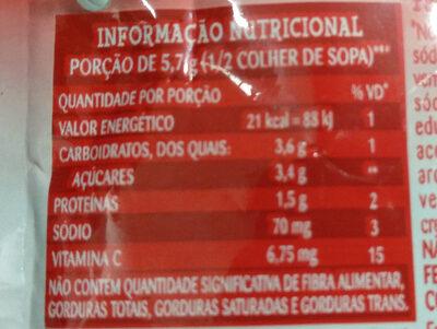Gelatina de morango - Informação nutricional - pt