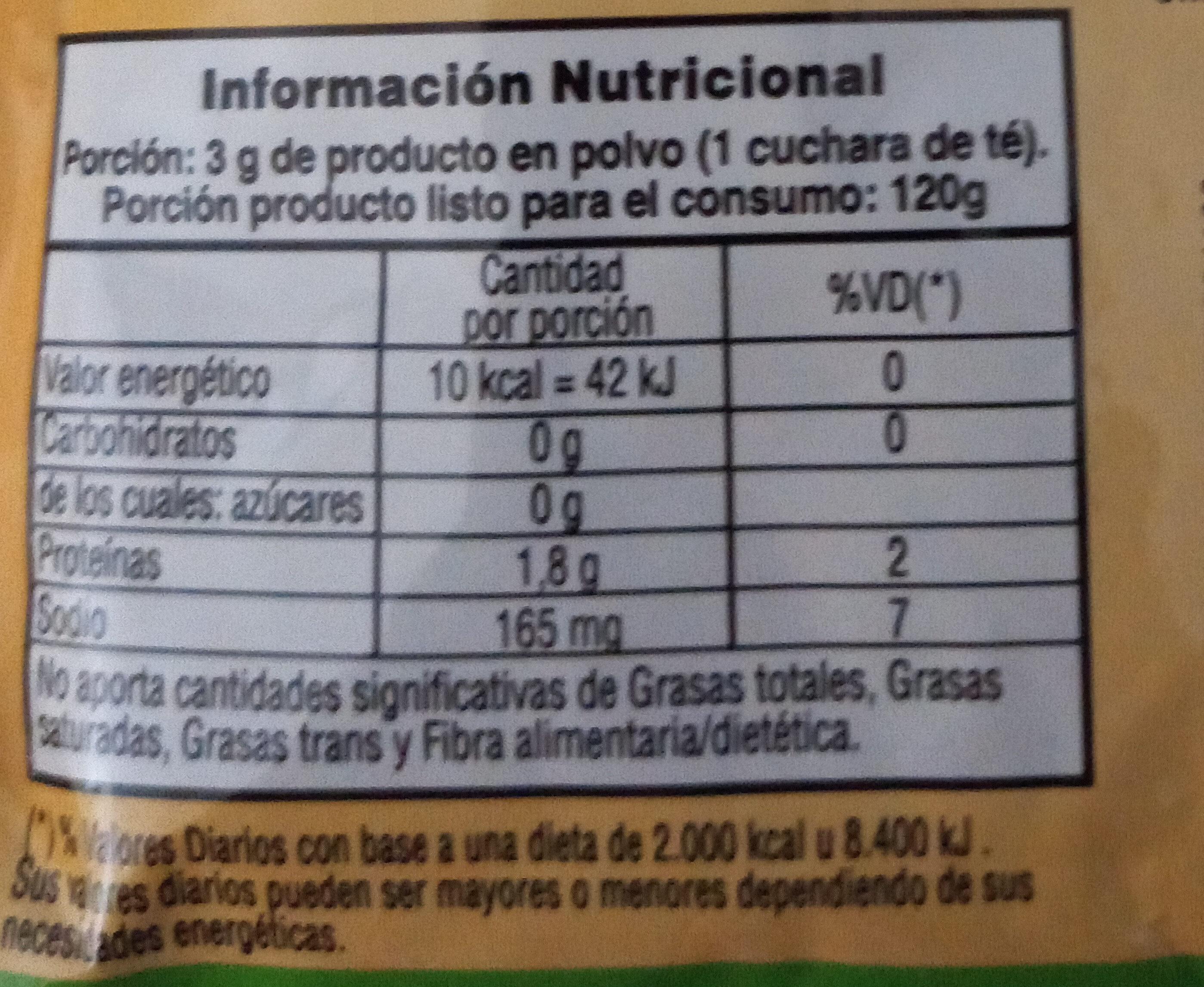 Gelatina Sabor Durazno Sin Azucar - Informations nutritionnelles - es