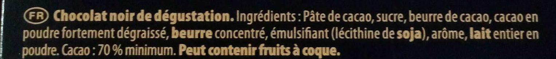 Chocolat 70% noir intense Côte d'Or - Inhaltsstoffe - fr