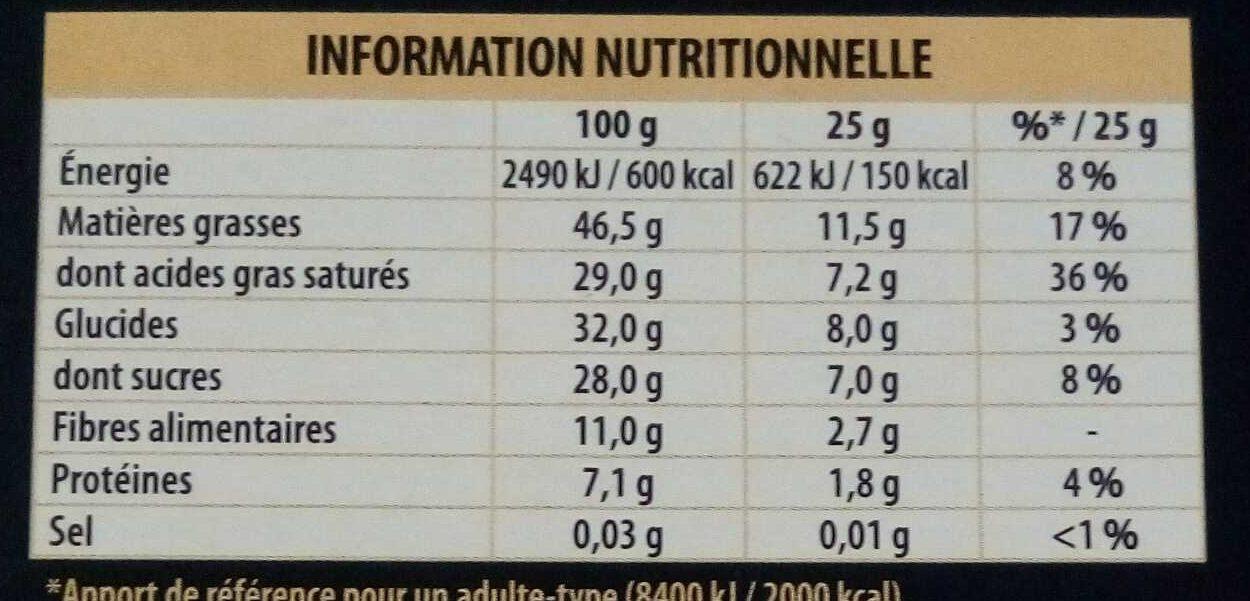 Chocolat 70% noir intense Côte d'Or - Nährwertangaben - fr