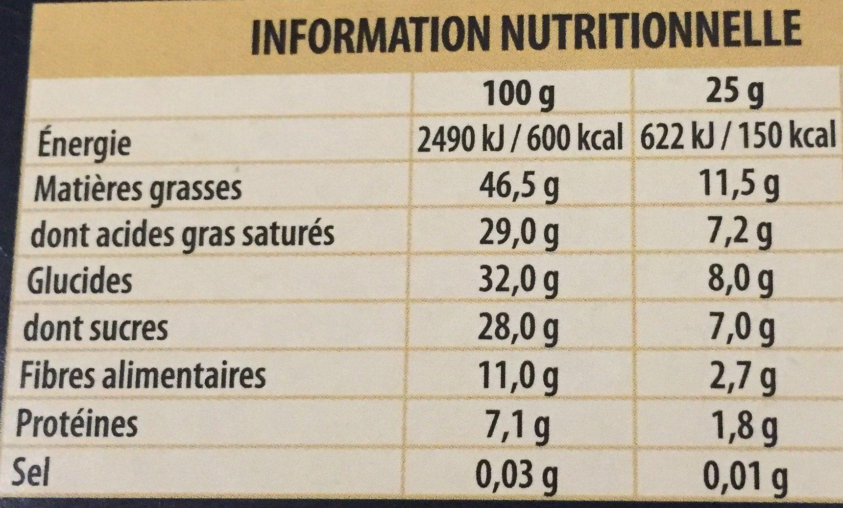Fin 70% Noir intense - Informations nutritionnelles - fr