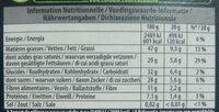70% noir extra - Informação nutricional - fr