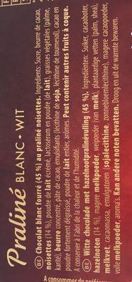 Praliné Blanc - Ingrediënten