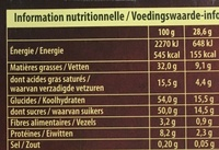 Dessert 58 Praliné - Nutrition facts