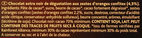 Côtes d'Or Orange Noir 70 % - Ingrédients - fr