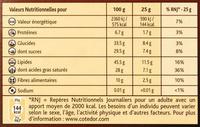Côtes d'Or Orange Noir 70 % - Informations nutritionnelles - fr