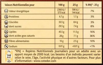 Côtes d'Or Orange Noir 70 % - Nutrition facts
