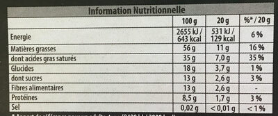 noir intense 86% - Nutrition facts