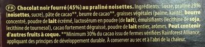 Côte d'or Praliné noir - Ingredients - fr