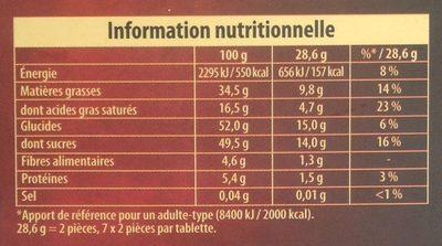 Praliné Fondant Noir - Informations nutritionnelles - fr