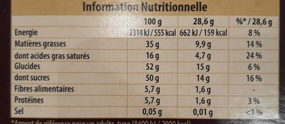 Praliné Fondant Noir - Nutrition facts - fr