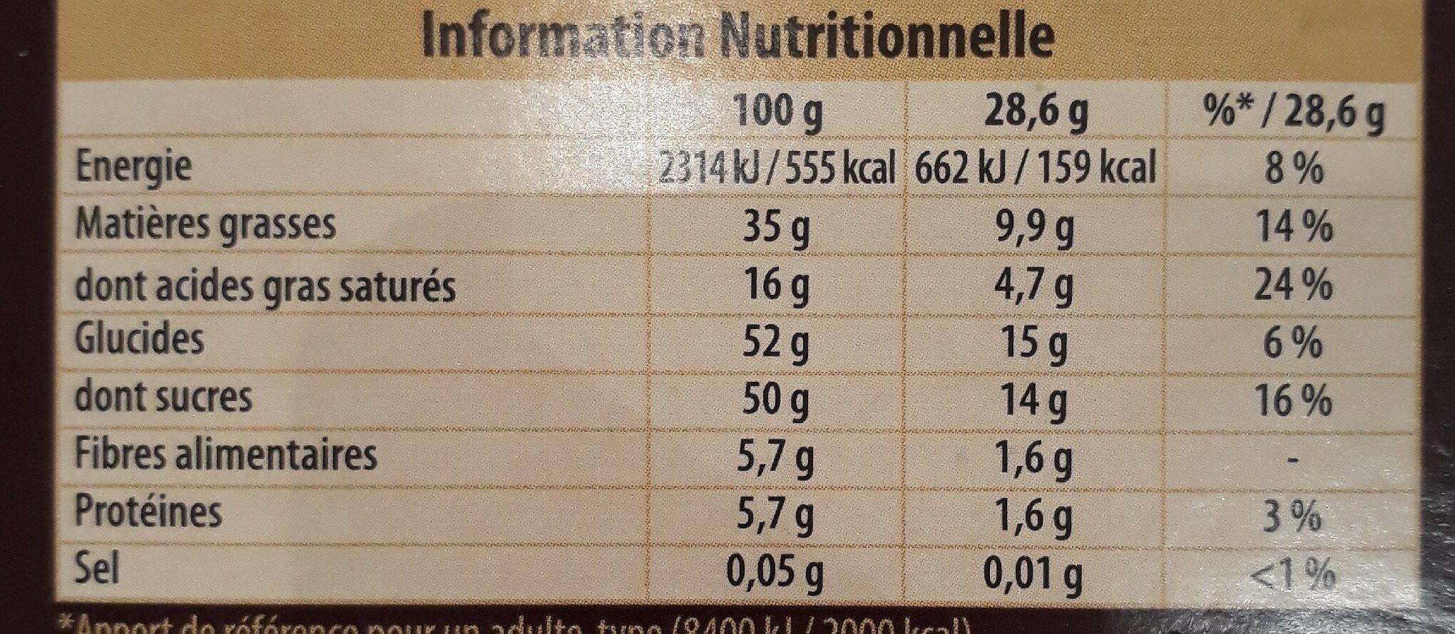 Côte d'or Praliné noir - Nutrition facts - fr