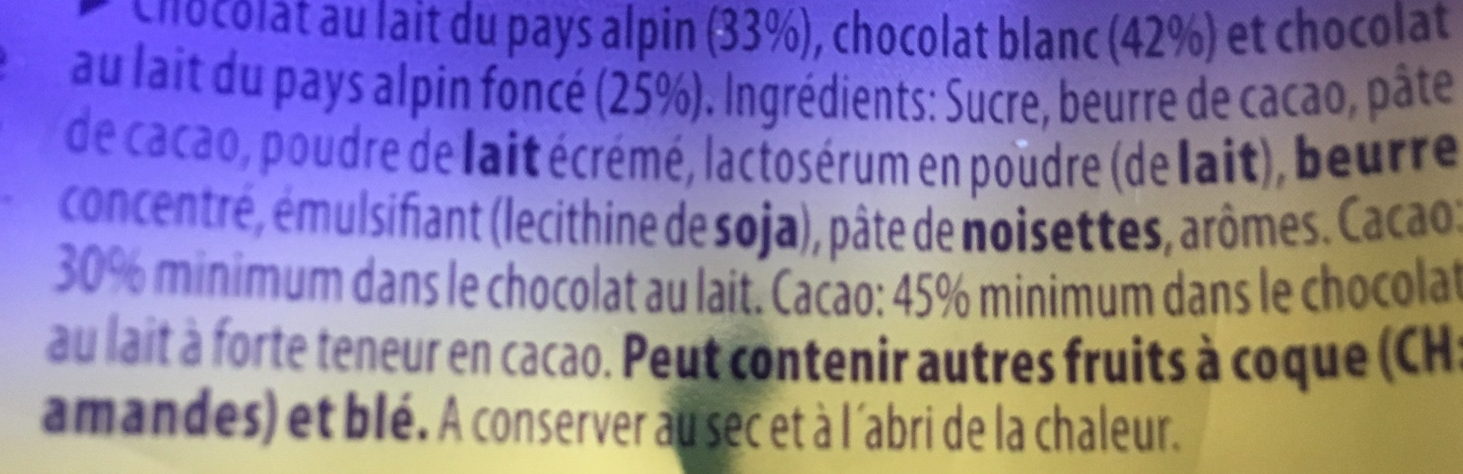 Milka Chocolat Triolade - Ingrédients - fr