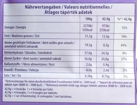 Milka Chocolat Triolade - Informations nutritionnelles - de