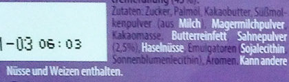 Milka Alpenmilchcreme - Ingrédients - de