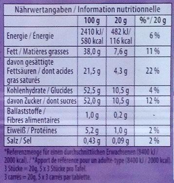 Milka Alpenmilchcreme - Informations nutritionnelles - de