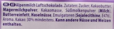 Luflée Alpenmilch - Ingrédients - de