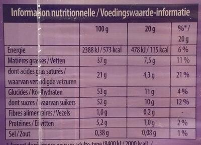 Tendre au Lait - Voedingswaarden - fr