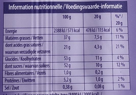 Milka Tendre au Lait - Informations nutritionnelles - fr