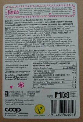 Salade de lentilles, courge, betterave rouge et quinoa - Prodotto - fr