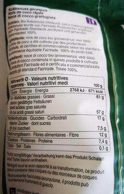 Coop Naturaplan noix de coco râpée bio - Valori nutrizionali - fr