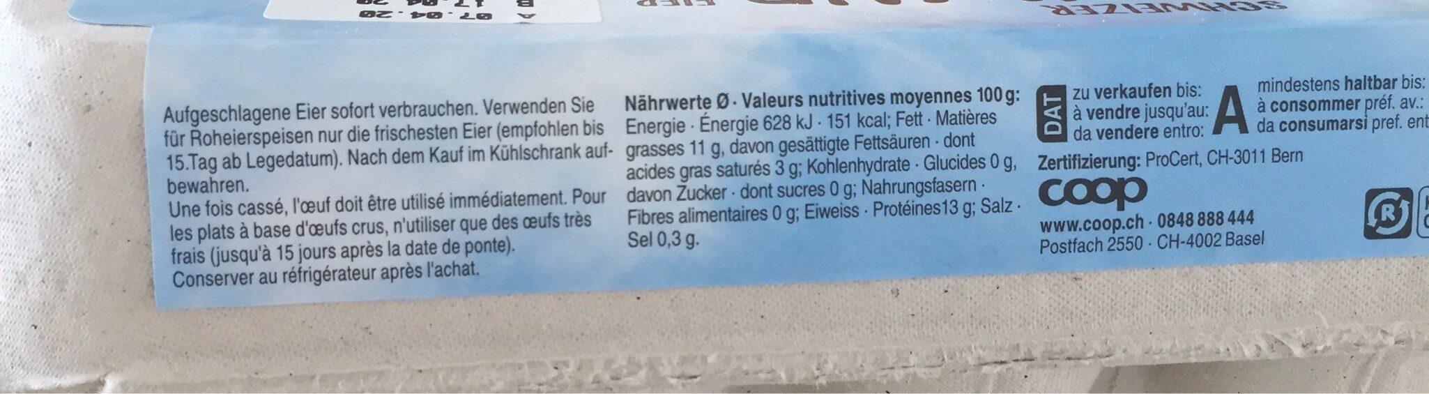 Oeufs Suisse d'élevage en plein air - Voedingswaarden - fr