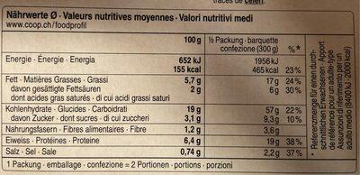 Lasagne alla bolognese - Valori nutrizionali - fr
