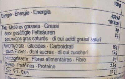 Crème vanille - Valori nutrizionali - fr