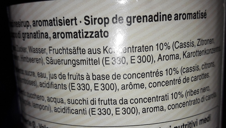 Sirop Grenadine - Ingrediënten - fr