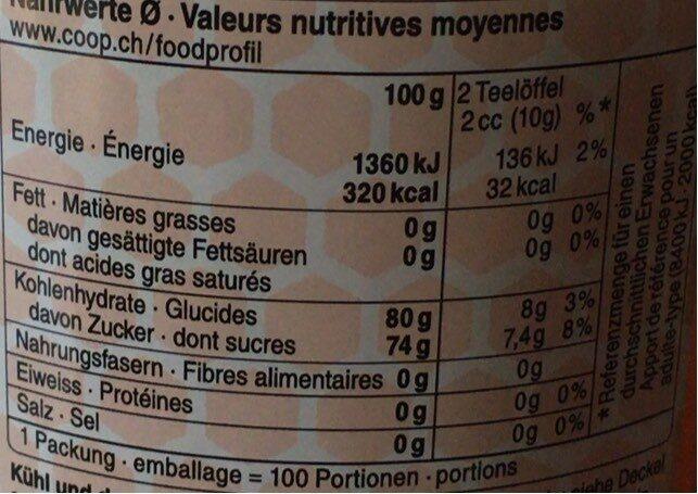 Miel liquide - Informazioni nutrizionali - fr