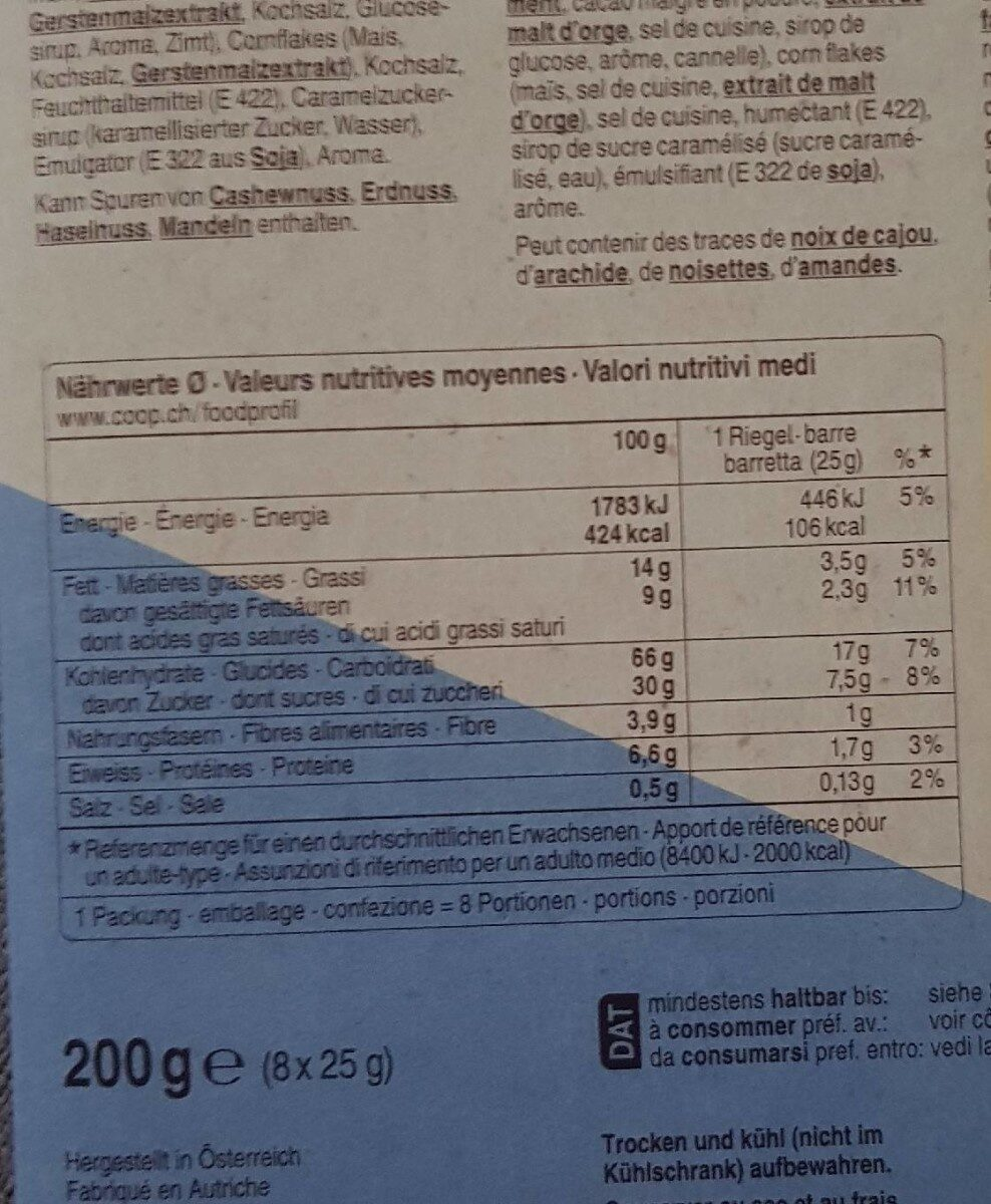 Barres de müesli - Valori nutrizionali - fr