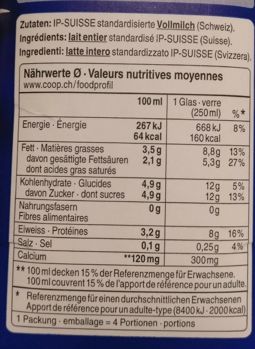 Milch - Nutrition facts - fr
