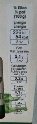Sugo al basilico bio - Voedingswaarden - fr