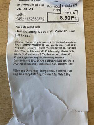 Nüsslisalat mit Hartweizengries, Randen und Fetakäse - Valori nutrizionali - de