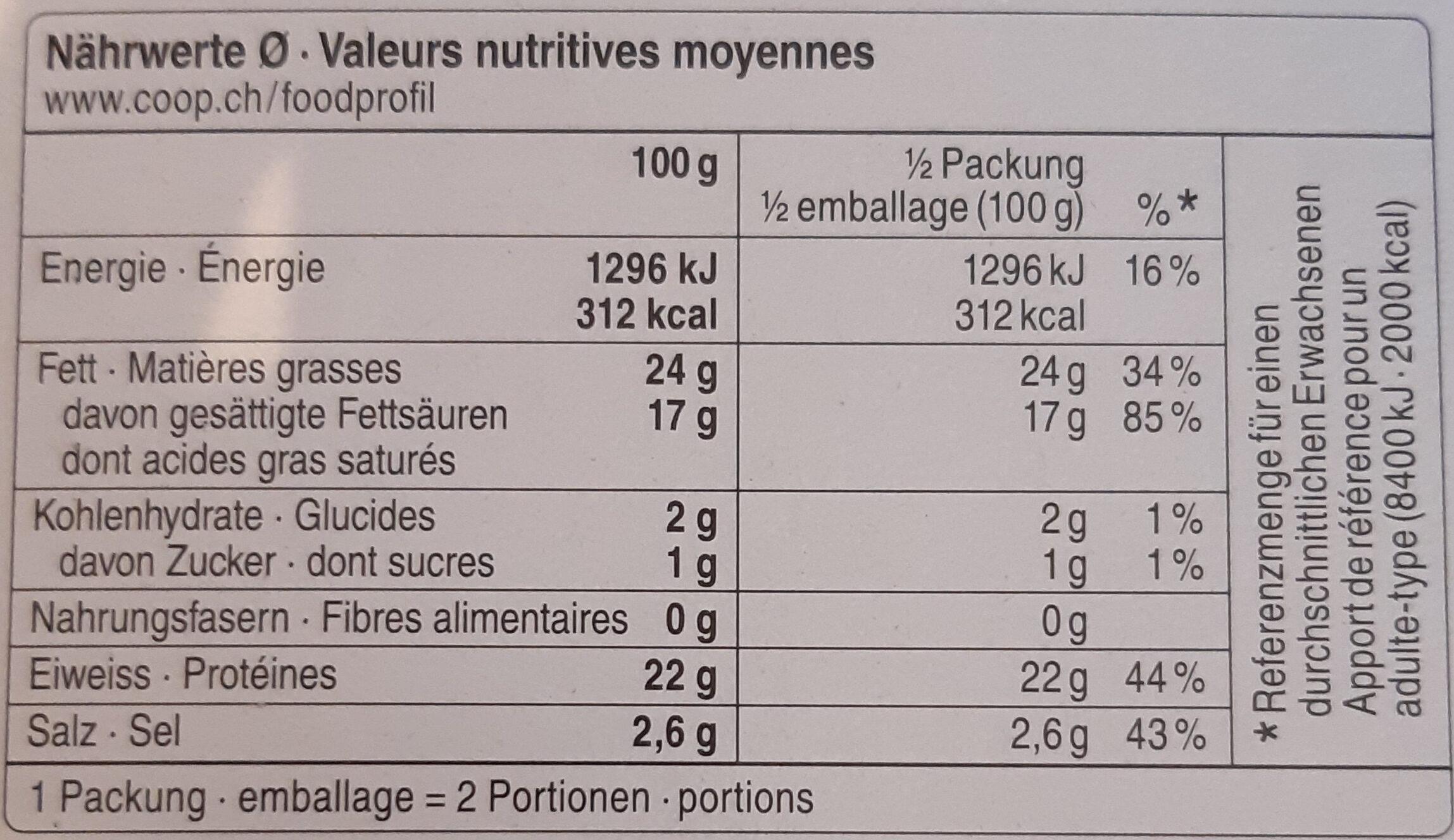 Halloumi Bio - Voedingswaarden - fr