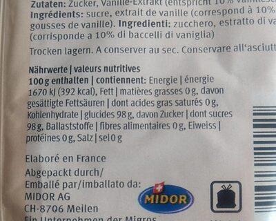Vanillezucker - Nährwertangaben - fr