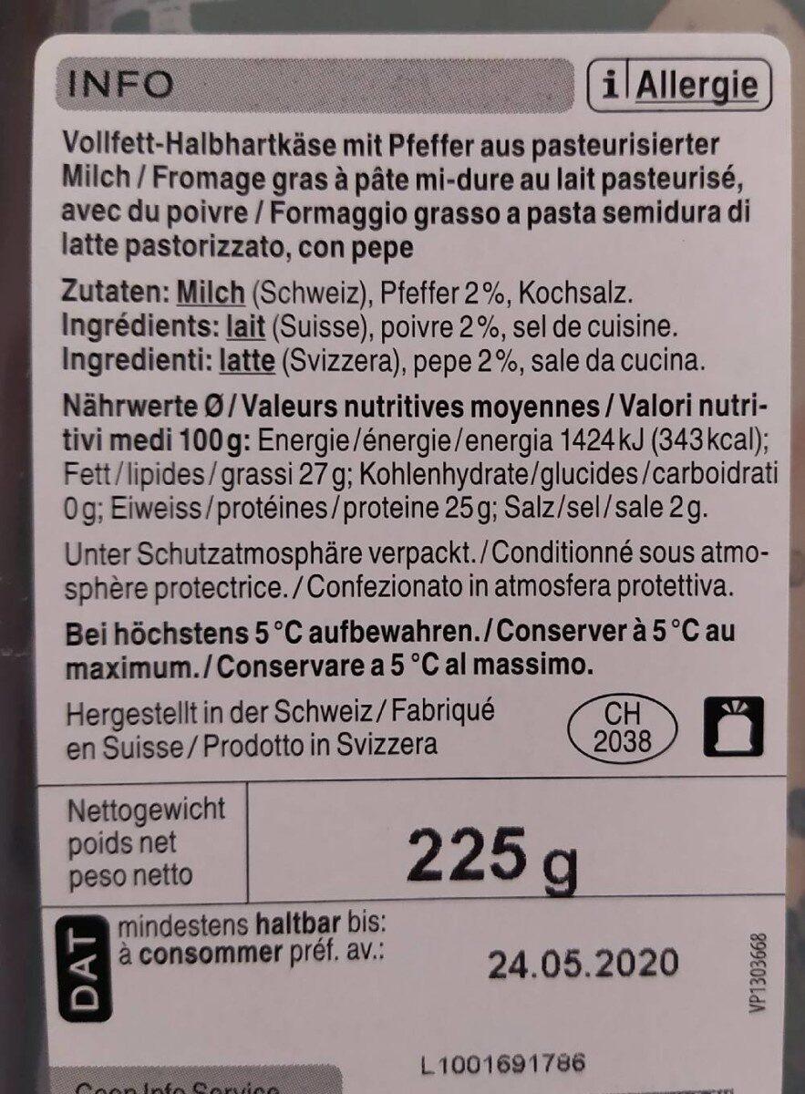 Qualité & Prix - Raclette en tranches au poivre - Voedingswaarden - fr