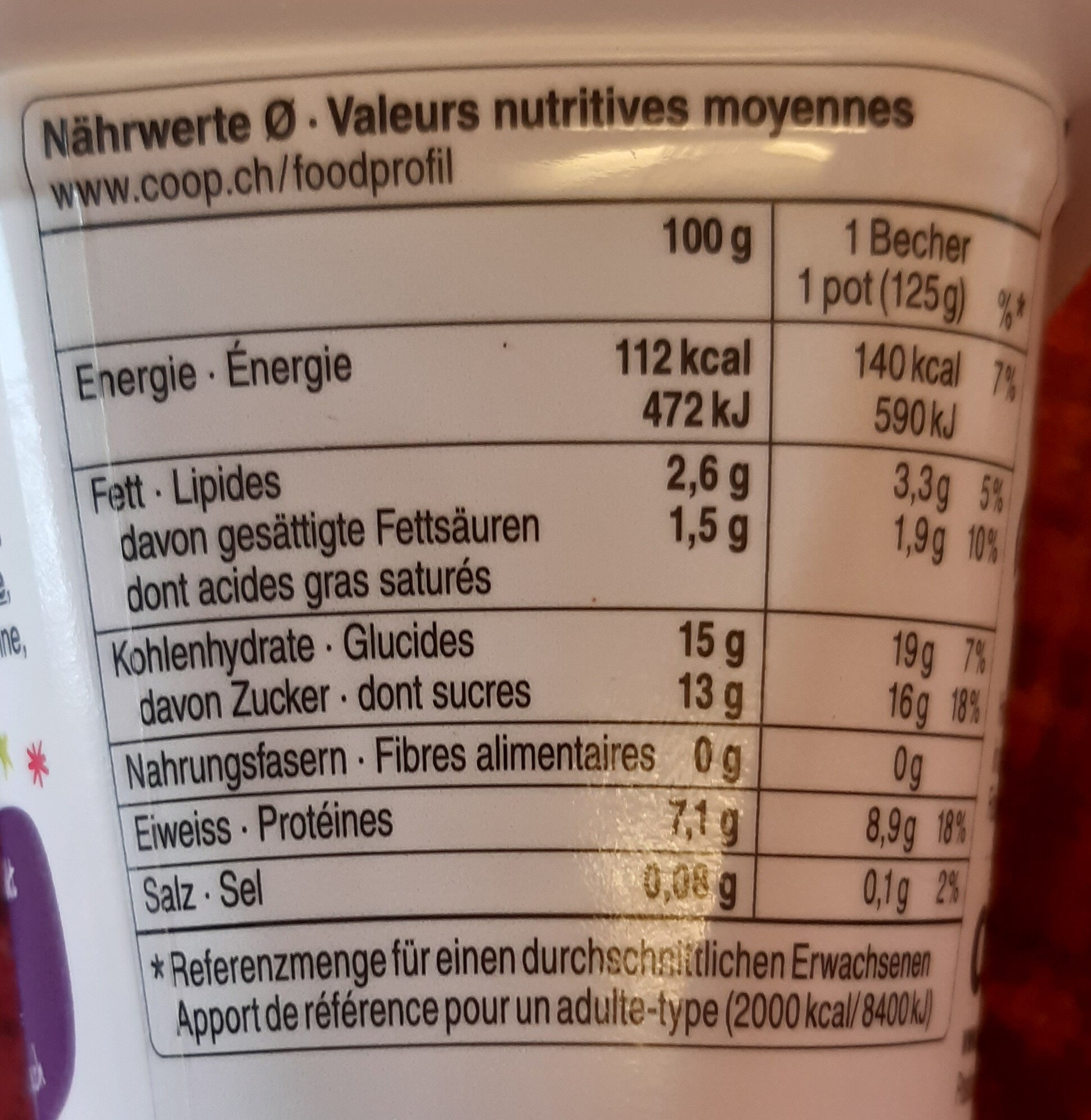 Séré aux fruits Framboise - Informations nutritionnelles - fr