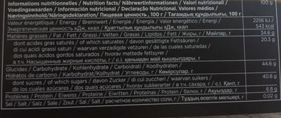 Chocolats - Voedingswaarden