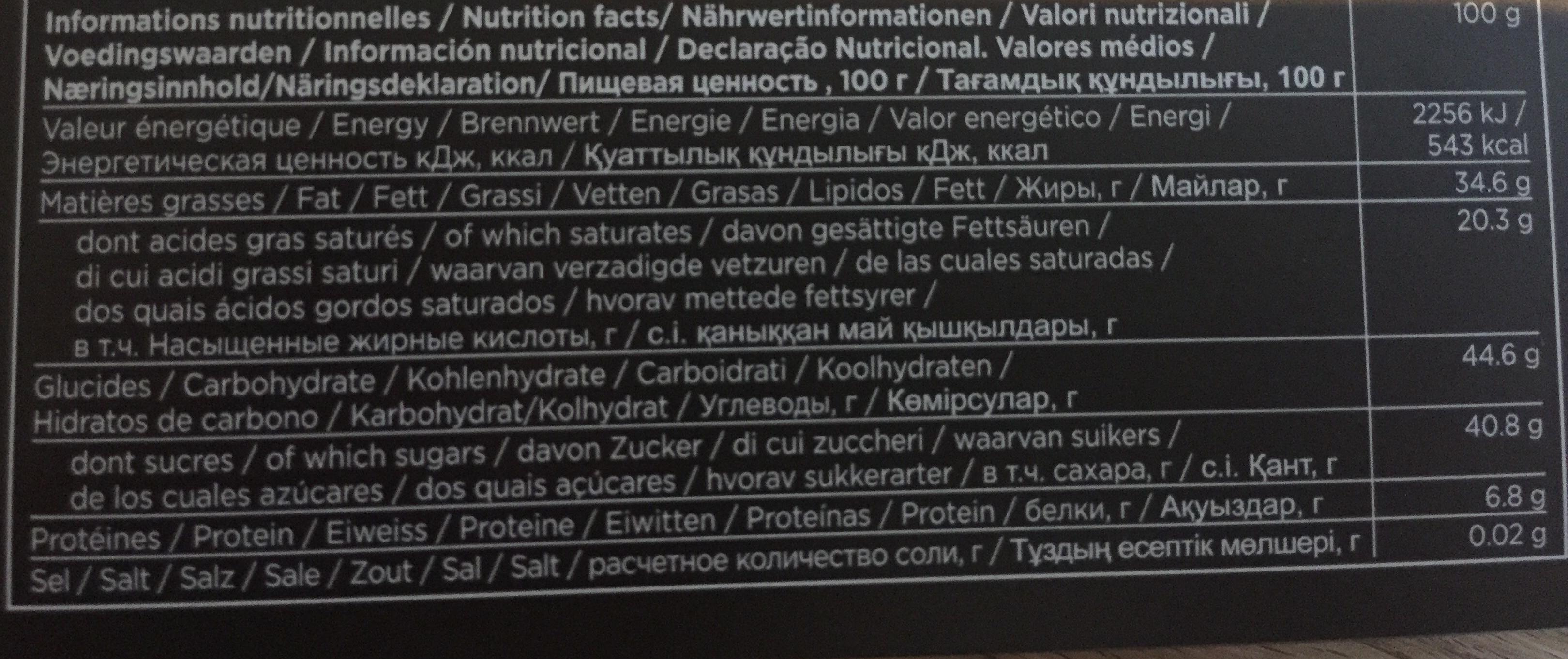Chocolats - Voedingswaarden - fr