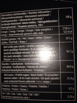 Orange Flavoured Biscuits - Informació nutricional